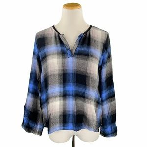 Anthro Cloth & Stone Plaid Pullover Flannel Top